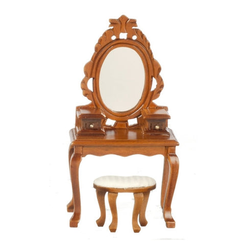Vanity, Victorian Ladies w/ Bench, Walnut