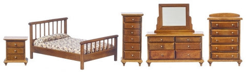 Bedroom Set, Five Piece, Walnut Double