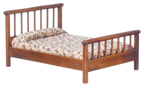 Double Bed, Straight Spindles, Walnut