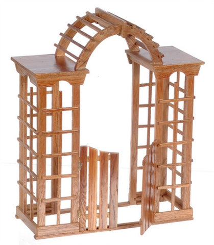 Arbor with Gate, Pecan Finish