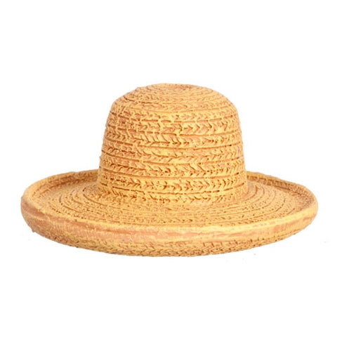 Straw Hat with Flat Brim, Polyresin