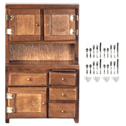 Hutch, Walnut Finish with Accessories
