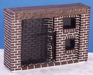 Colonial Walk-In Brick Fireplace