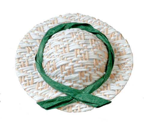 Ladies Straw Hat with Green Ribbon