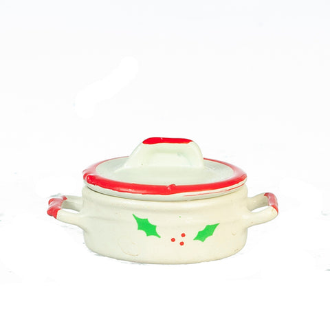 Covered Casserole Dish With Christmas Holly