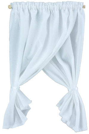 Tieback Double Swage White Curtain
