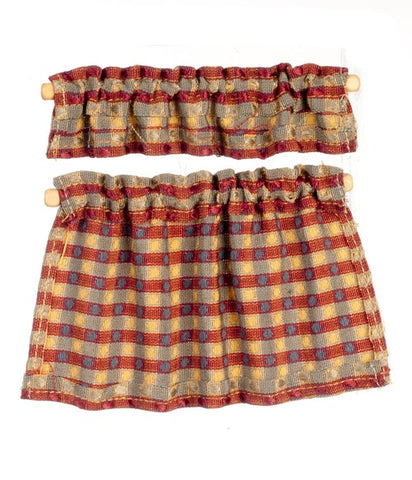 Cafe Curtains, Raspberry and Gold Plaid