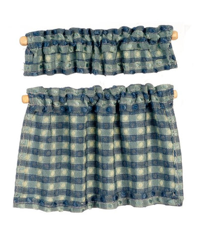 Cafe Curtains, Blue Plaid