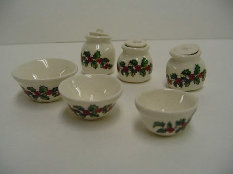 Crescent Holly Cannister and Bowl Set