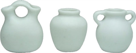 Miniature Vase, Set of Three Unglazed, White