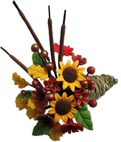 Fall Floral Cornucopia Arrangement