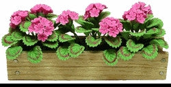 Flower Box, Pink Geraniums, Natural Wood Box
