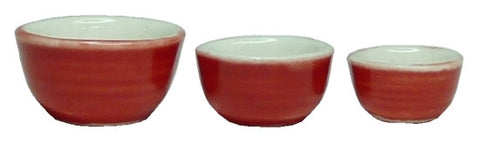 Mixing Bowls, Set of Three, Red