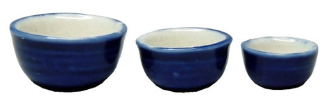 Mixing Bowls, Set of Three, Blue and White
