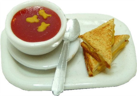 Tomato Soup W/Goldfish Crackers, Grilled Cheese