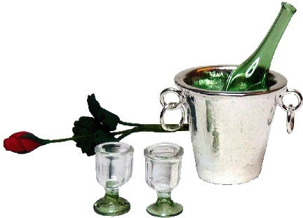Champagne and Long Stem Rose Set