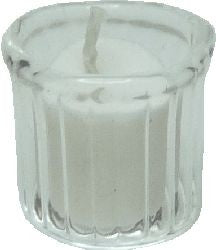 White Votive Candle in Clear Candle