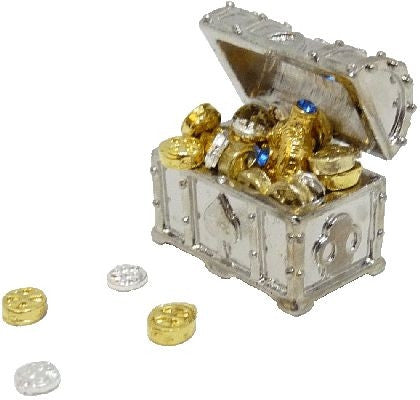 Silver Treasure Chest with Treasure