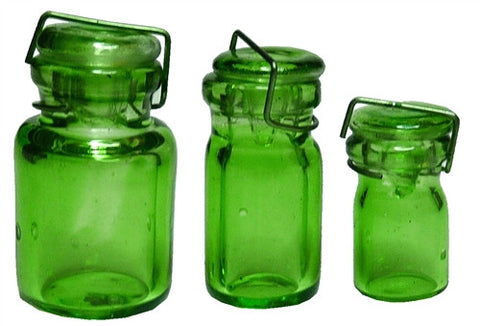 Glass Canning Jar, 3 pcs - Green