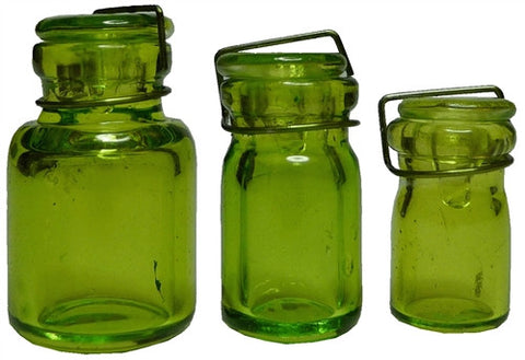 Glass Canning Jar, 3 pcs - Lt Grn