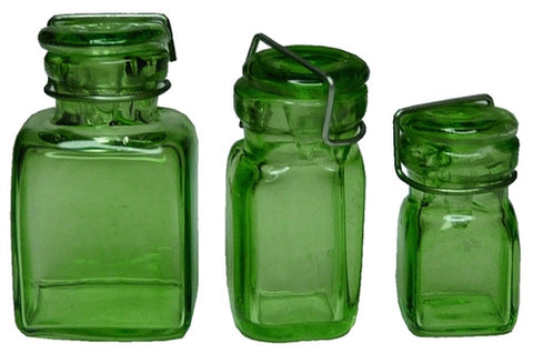 Sq. Gls Canning Jar, 3 pcs - Green