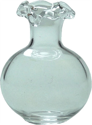Glass Vase W/Fluted Neck