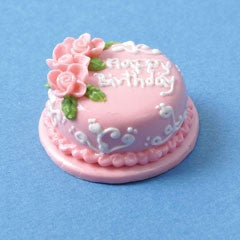 Birthday Cake, Pink Rose, Round