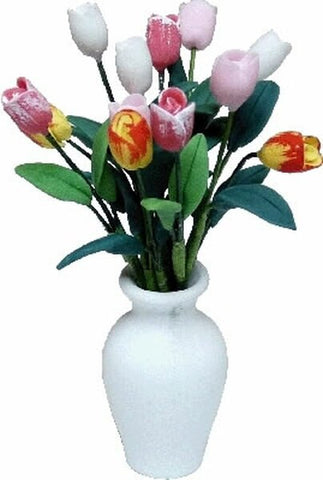 Vase of Multi Colored Tulips