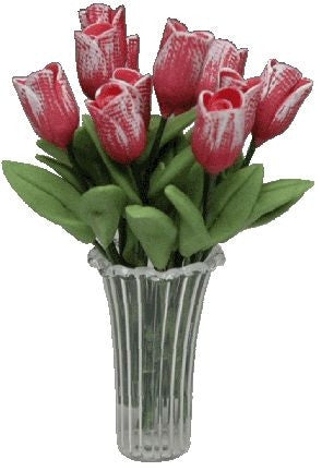 Pink Tulips in Crystal Vase