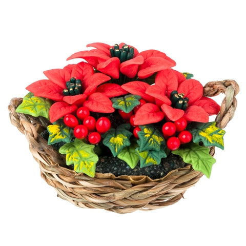 Miniature Poinsettia in woven basket