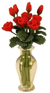 Glass Vase W/12 Red Roses