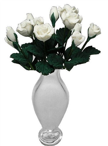 Dozen White Roses in Classic Clear Vase