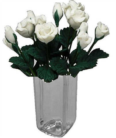 Dozen White Roses in Tall Glass Vase