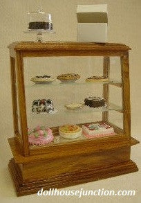 Store Display Case with Real Glass, Walnut Base