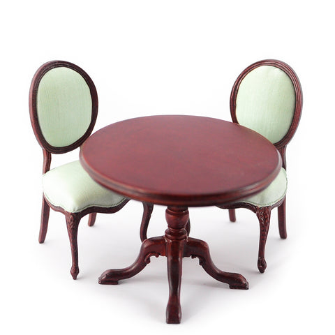 Table and Two Chairs, Mahogany and Soft Green Satin