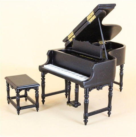 New Piano and Bench with Bench, Black