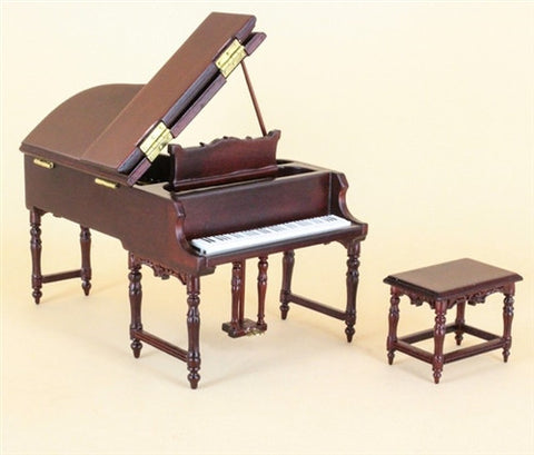 New Piano and Bench with Bench, Mahogany