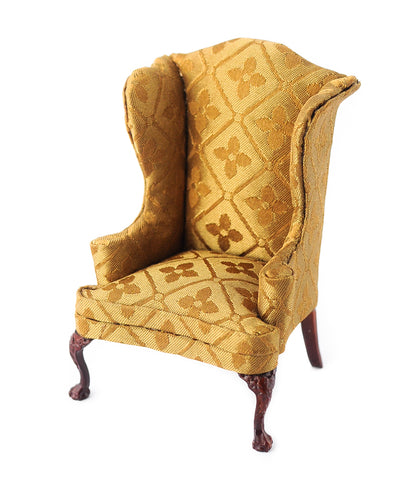 Wing Chair, Gold Satin
