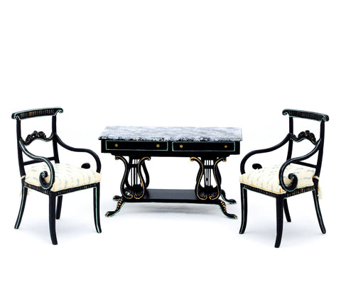 Regency Console Table and Two Chairs, Black and Gold Details