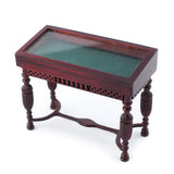 Vitrine Table with Green Velvet, Mahogany