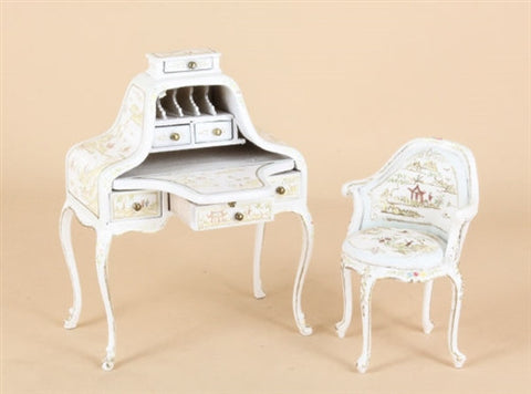 Hepplewhite Desk and Chair Set, White with Gold ON SPECIAL
