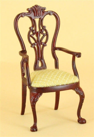 Sheraton Style Dining Room Arm Chair, Walnut or Mahogany
