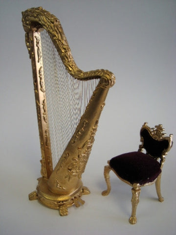 Harp and Chair Set, Gold and Crimson