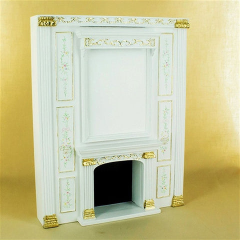Manor White Floral Fireplace Unit