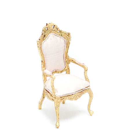 Gilded Arm Chair with Silk Upholstery