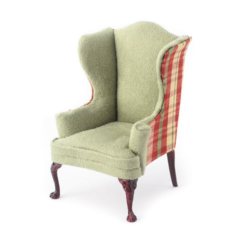 Wing Chair with Soft Green Suede and Plaid