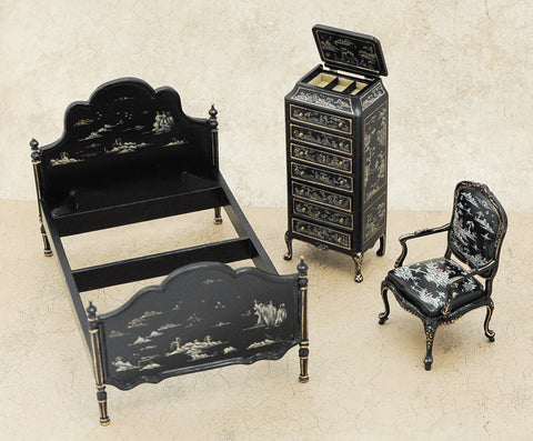 Bespaq Bedroom Set, Black Oriental Style SOLD