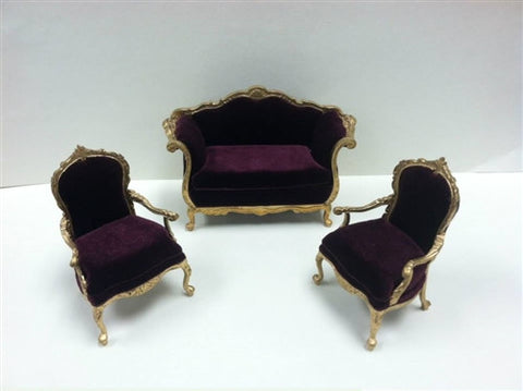 Benoit 3 Piece Living Room Set, Gilded with Velvet