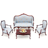 Living Room Set, Blue Silk Flora, Mahogany