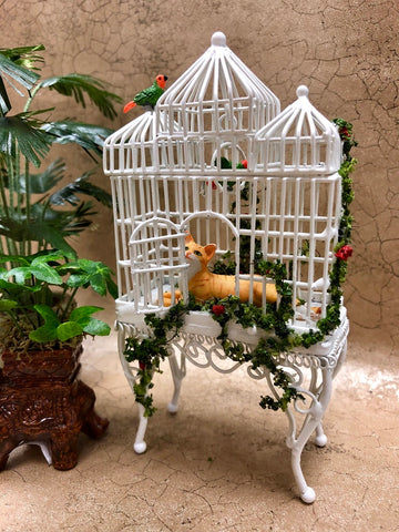 White Bird Cage with Cat